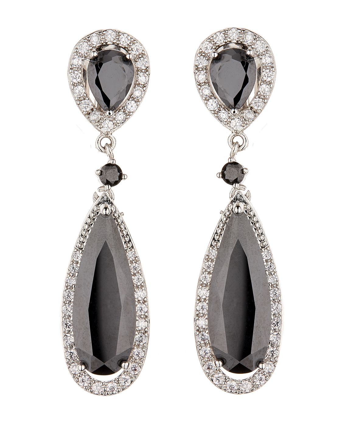 Clip On Earrings - Bano - silver luxury drop earring with black cubic zirconia stones