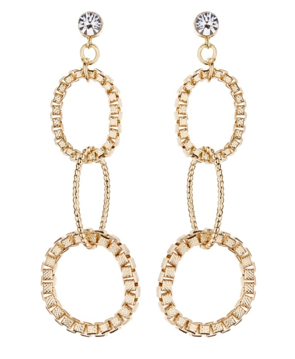 Clip On Earrings - Kaiya G - gold drop earring with three linked rings