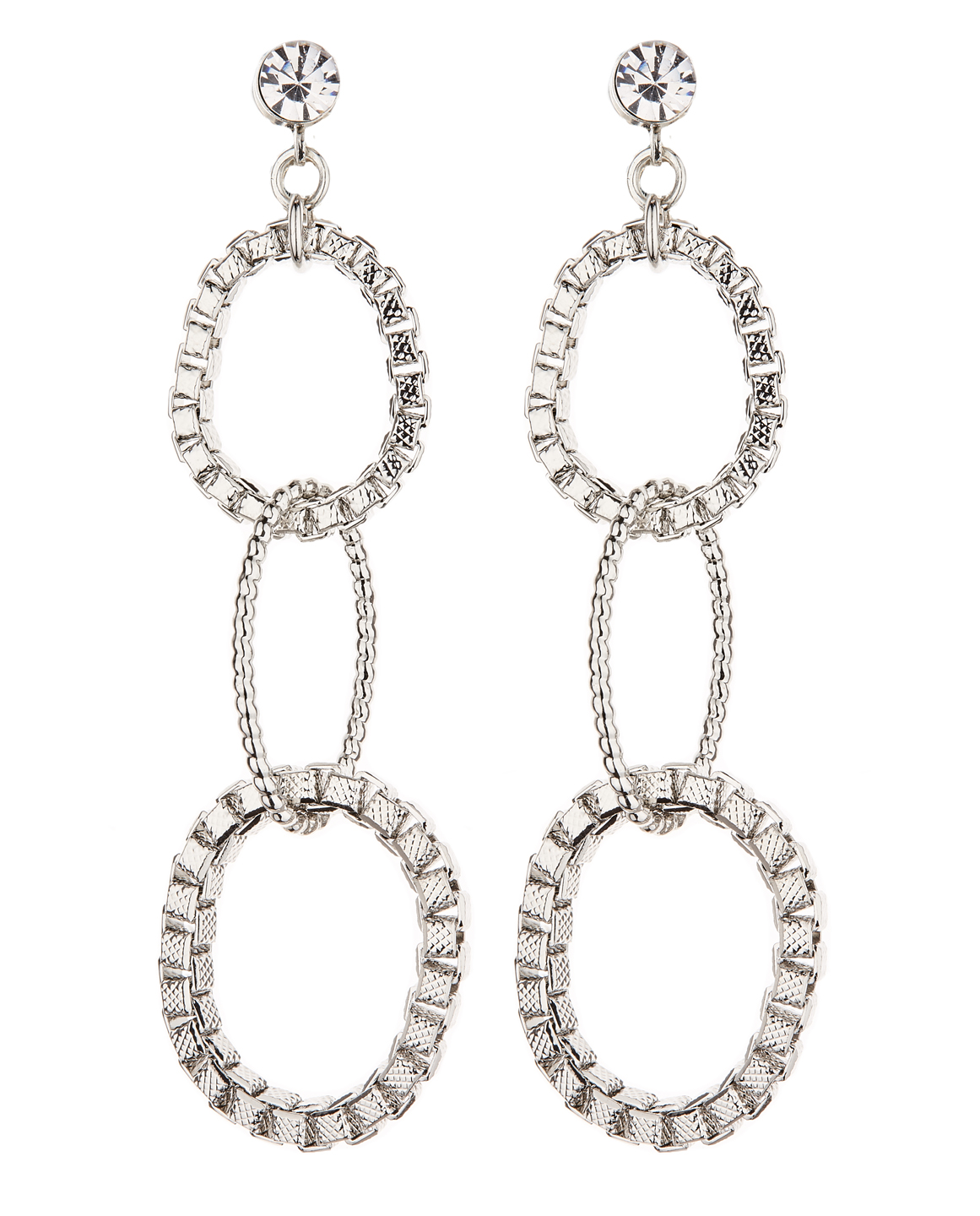 Clip On Earrings - Kaiya S - silver drop earring with three linked rings