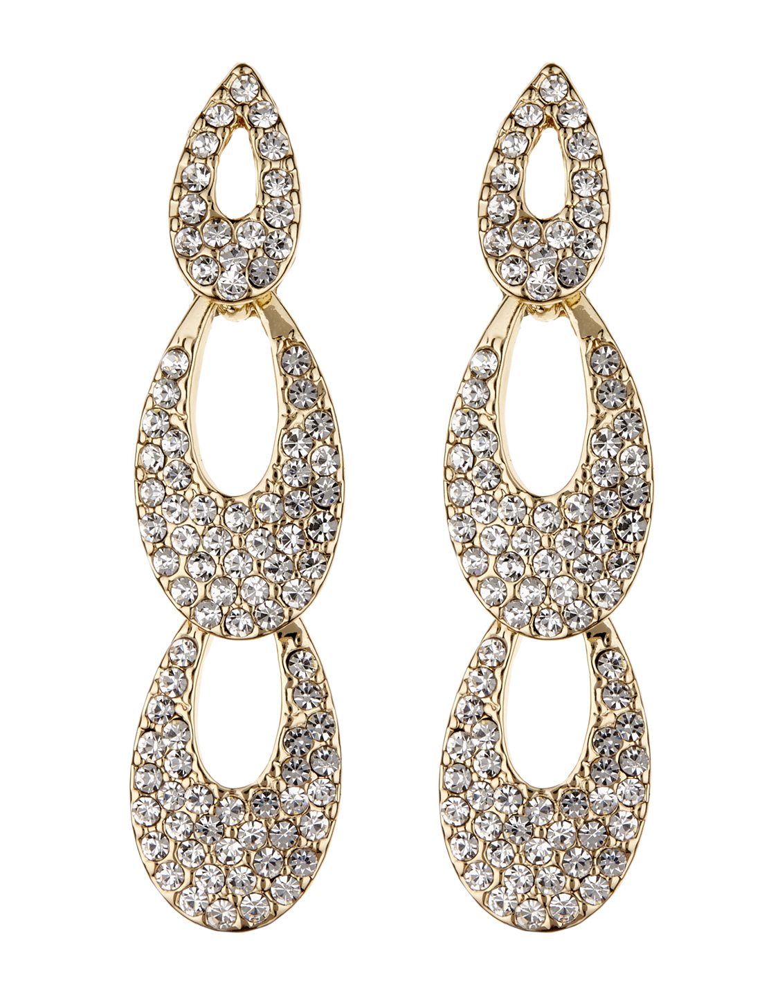Clip On Earrings - Blake G - gold drop earring with clear crystals