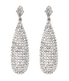 Clip On Earrings - Brandy S - silver drop earring with clear crystals