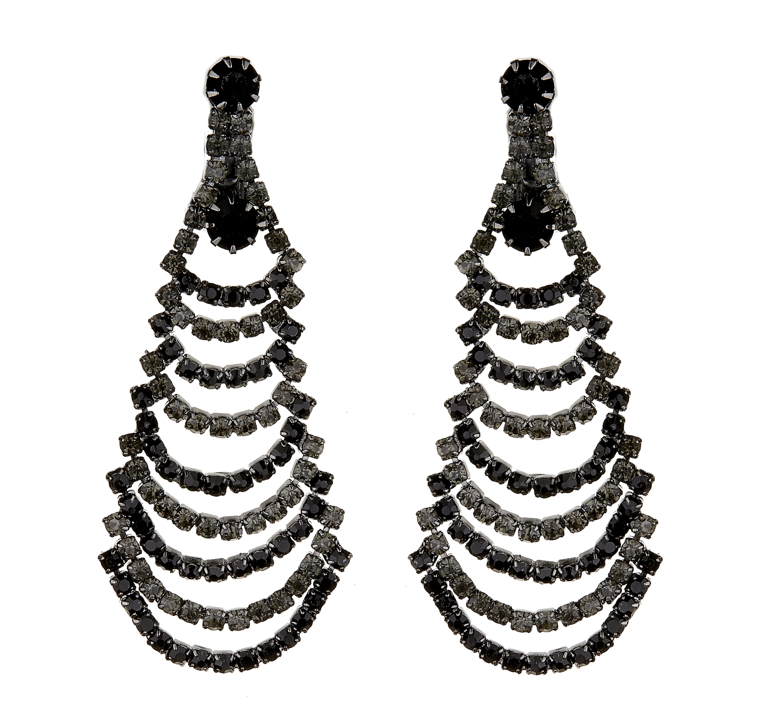 Clip On Earrings - Bruna - gunmetal grey earring with black and grey crystals