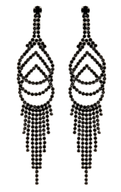 Clip On Earrings - Cael B - silver chandelier earring with black crystals