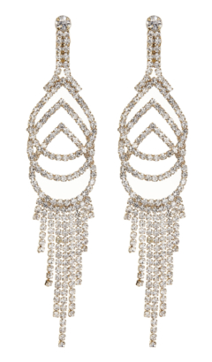Clip On Earrings - Cael G - gold chandelier earring with clear crystals