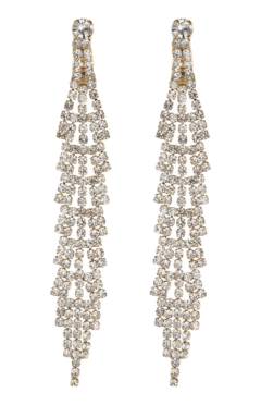 Clip On Earrings - Cain G - gold drop earring with clear crystals