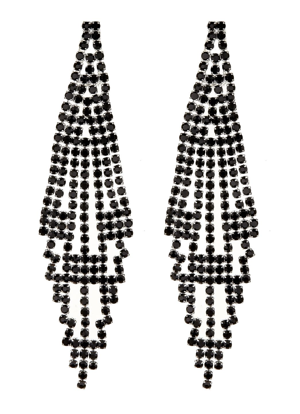 Clip On Earrings - Canei B - silver chandelier earring with black crystals