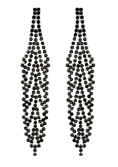 Clip On Earrings - Carew B - silver chandelier earring with black crystals