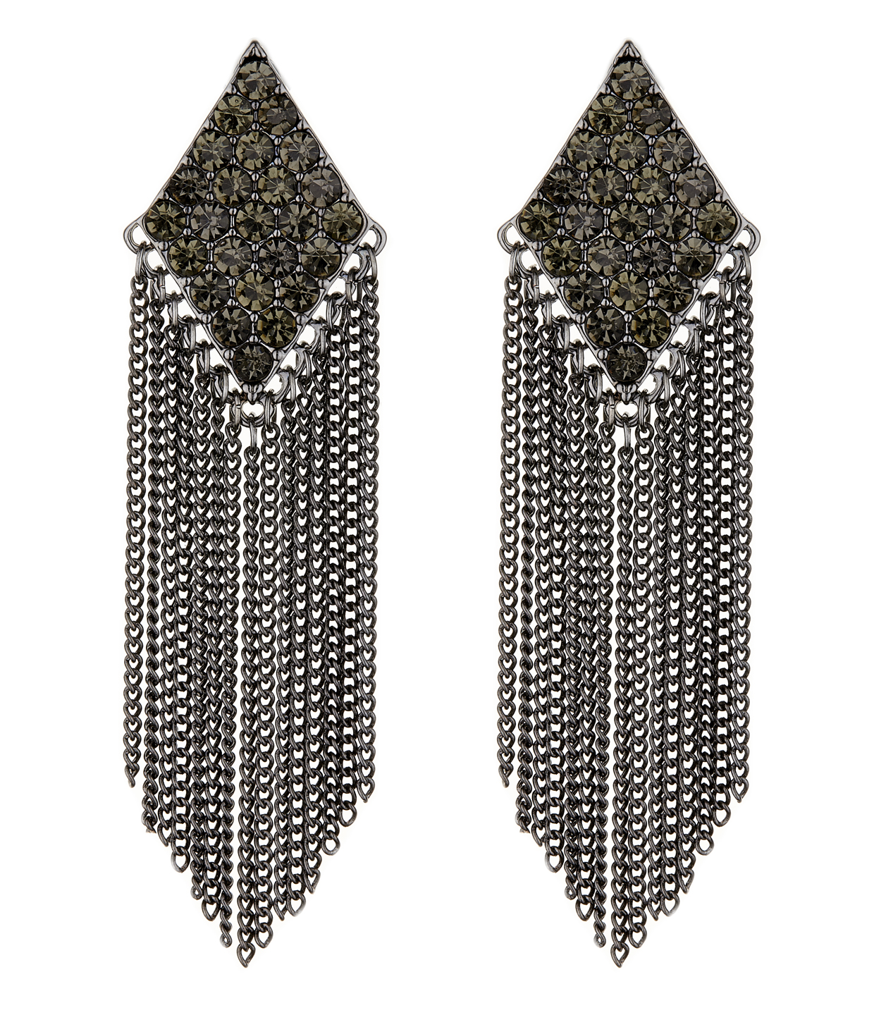 Clip On Earrings - Carys B - gunmetal grey earring with crystals and a chain fringe