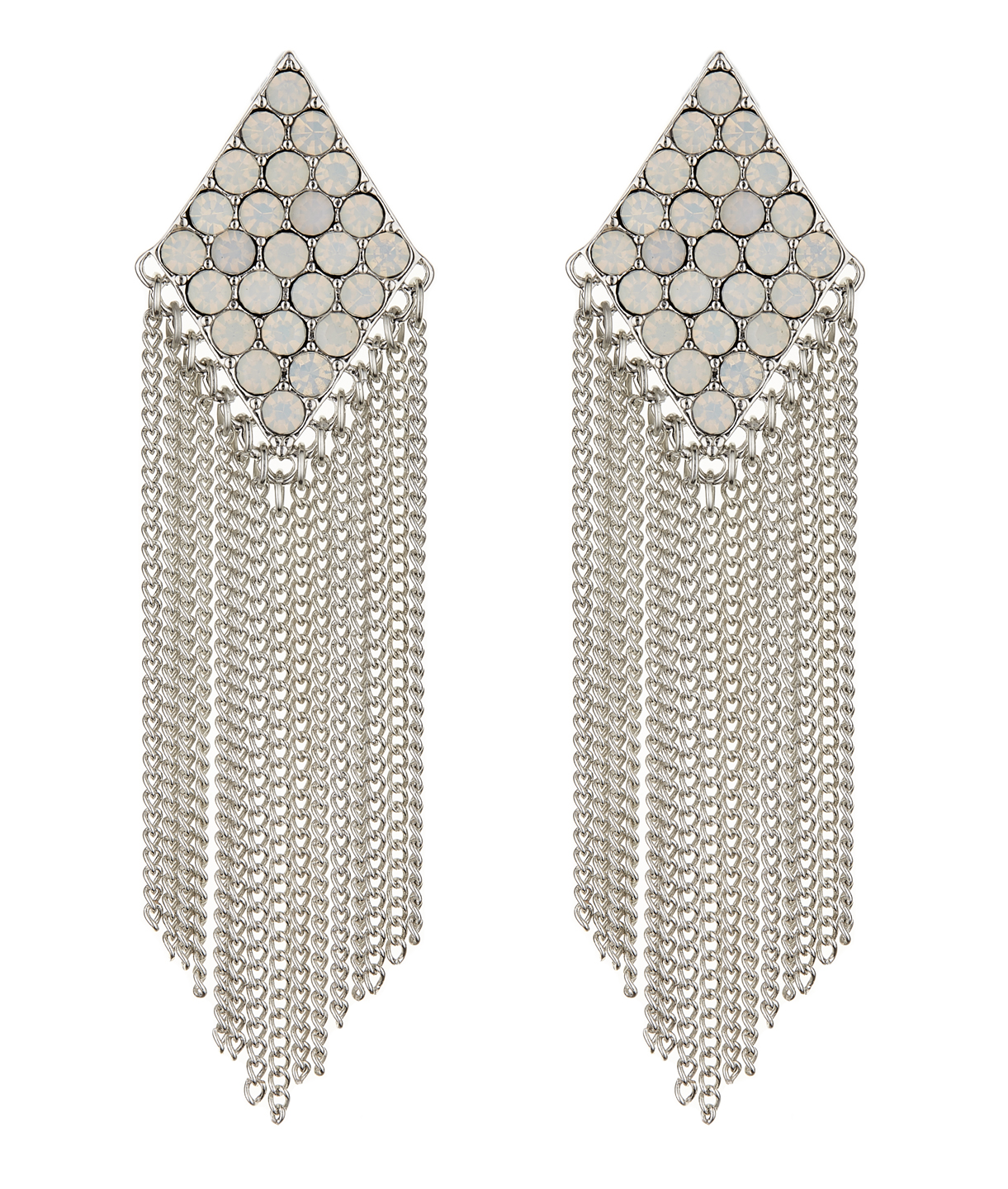 Clip On Earrings - Carys W - silver earring with crystals and a chain fringe