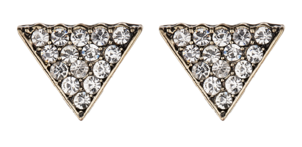 Clip On Earrings - Dakota - antique gold triangle with clear crystals