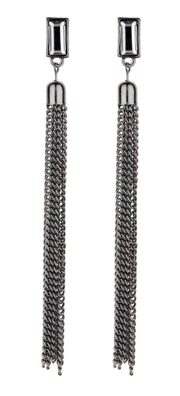 Clip On Earrings - Dallas - gunmetal grey earring with a clear stone and chain tassle