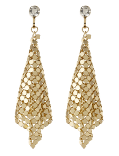 Clip On Earrings - Daya G - gold drop earring with a clear stone