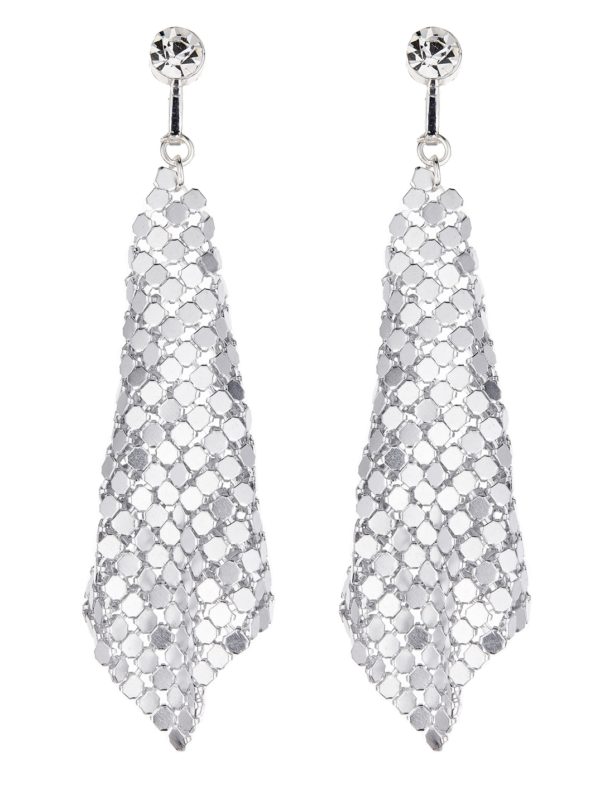 Clip On Earrings - Daya S - silver drop earring with a clear stone