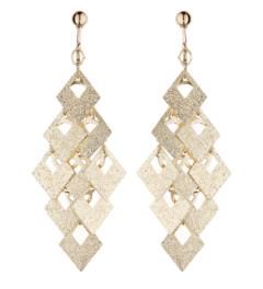Clip On Earrings - Kadin G - brushed gold drop earring
