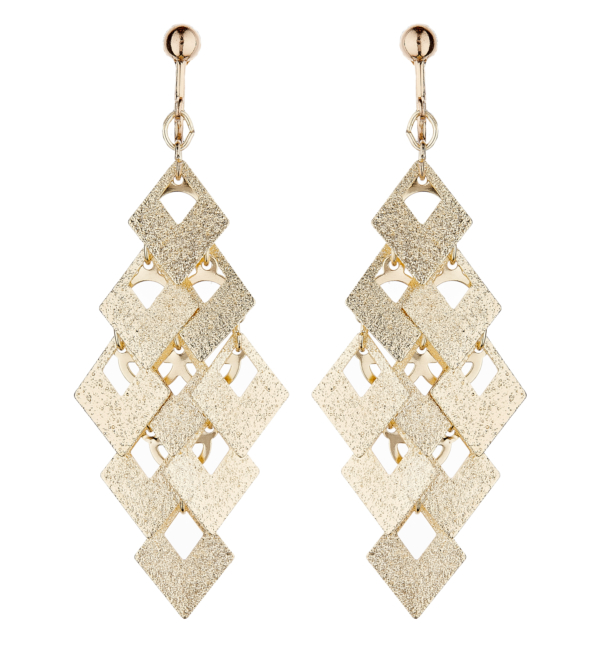 Clip On Earrings - Kadin G - brushed gold drop earring