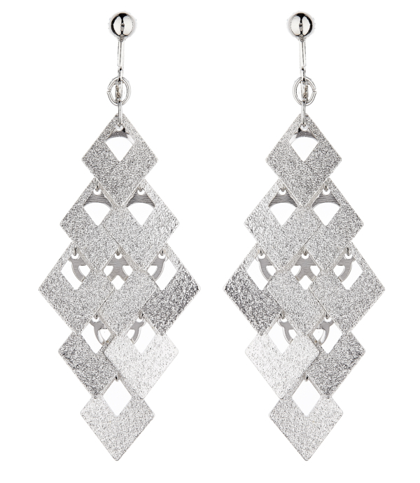 Clip On Earrings - Kadin S - brushed silver drop earring