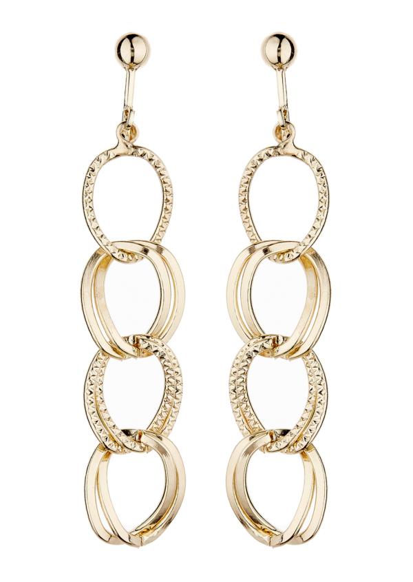 Clip On Earrings - Kadisha G - gold plated with linked hoops