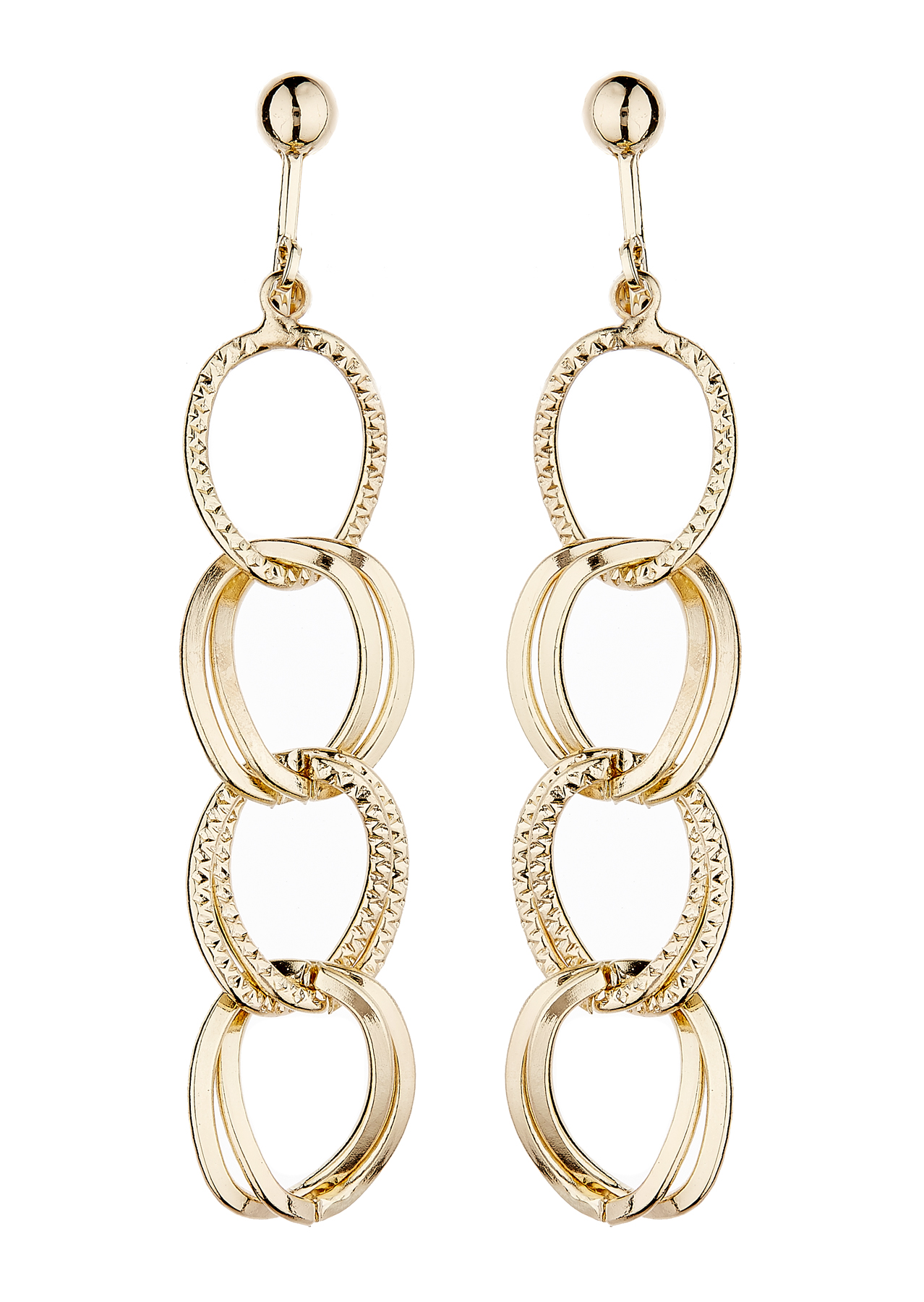 Clip On Earrings - Kadisha G - gold plated with linked hoops