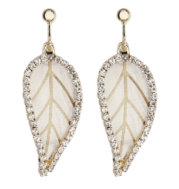 Clip On Earrings - Kaede - gold plated leaf earring with clear crystals