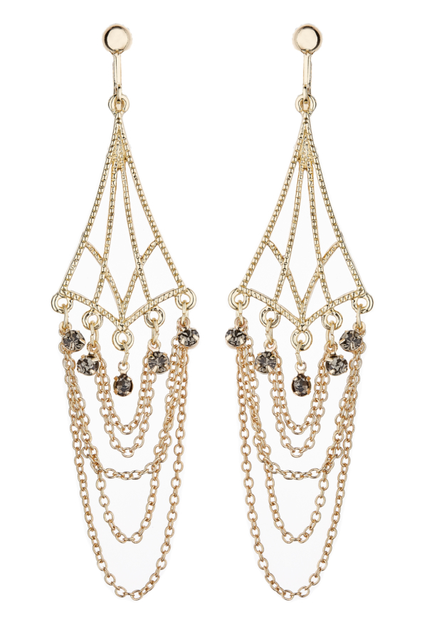 Clip On Earrings - Kafi - gold plated chandelier earring with chains and crystals