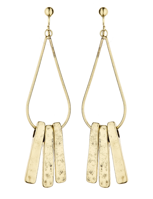 Clip On Earrings - Kaila - antique gold plated drop earring with three bars
