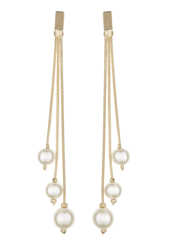 Clip On Earrings - Kalinda - gold drop earring with three pearls