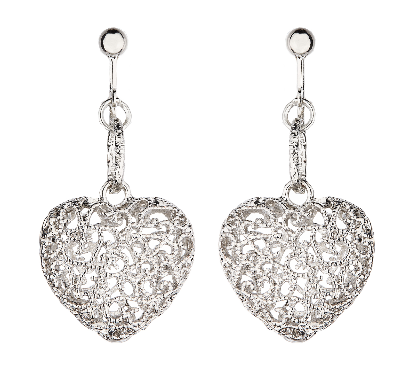 Clip On Earrings - Kalisha S - silver heart