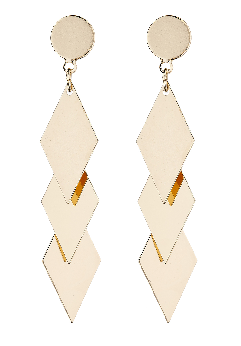 Clip On Earrings - Kallie G - gold drop earring with three linked diamond shapes