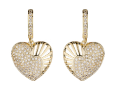 Clip On Earrings - Nafisa G - gold heart earring with clear cubic zirconia crystals