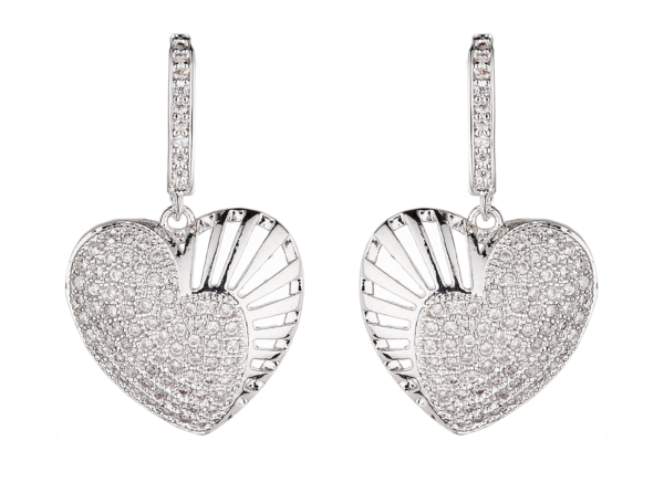 Clip On Earrings - Nafisa S - silver heart earring with clear cubic zirconia crystals
