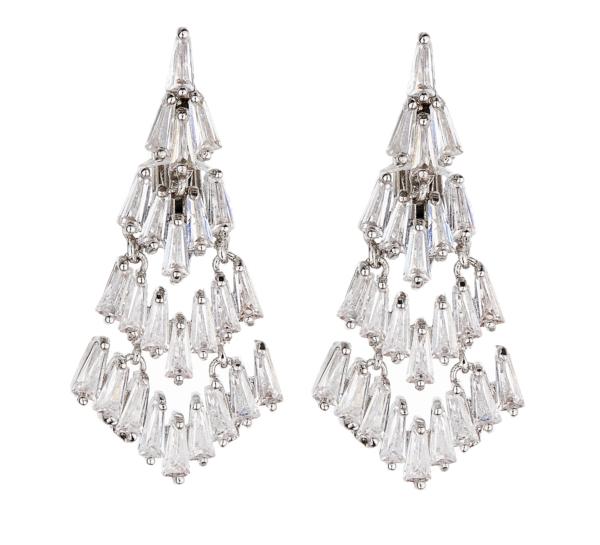 Clip On Earrings - Naki - silver luxury drop earring with cubic zirconia stones