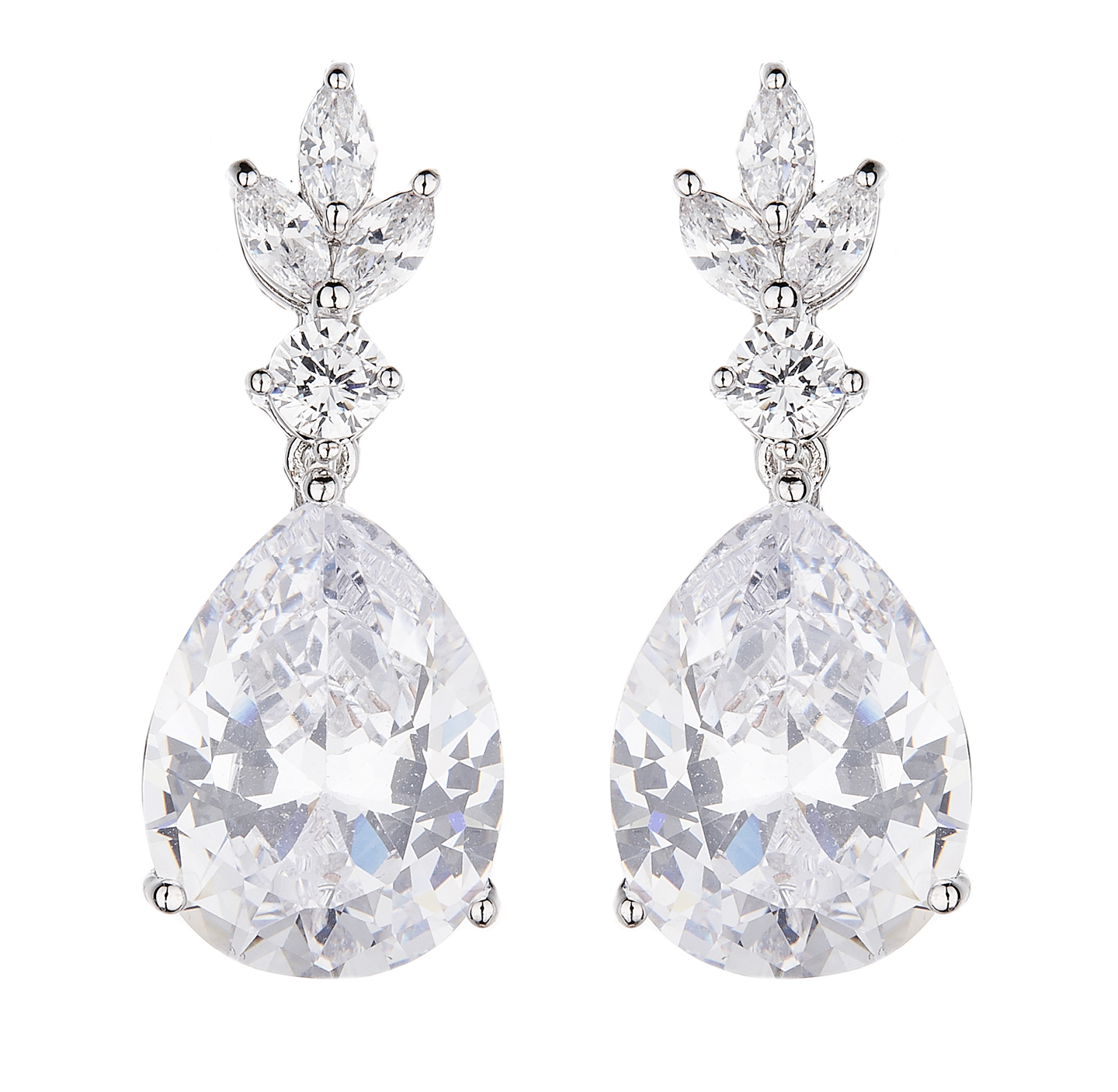 Clip On Earrings - Nala - silver luxury drop earring with cubic zirconia crystals and stones