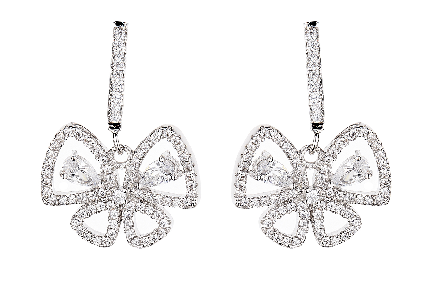 Clip On Earrings - Nalin - silver luxury butterfly earring with clear crystals and stones