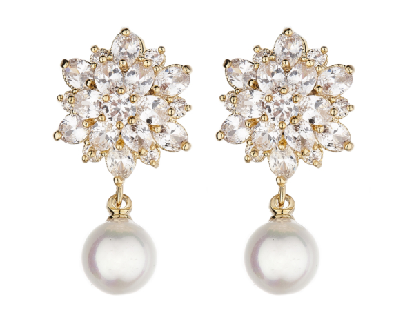 Clip On Earrings - Nancy G - gold luxury drop earring with cubic zirconia stones and a pearl