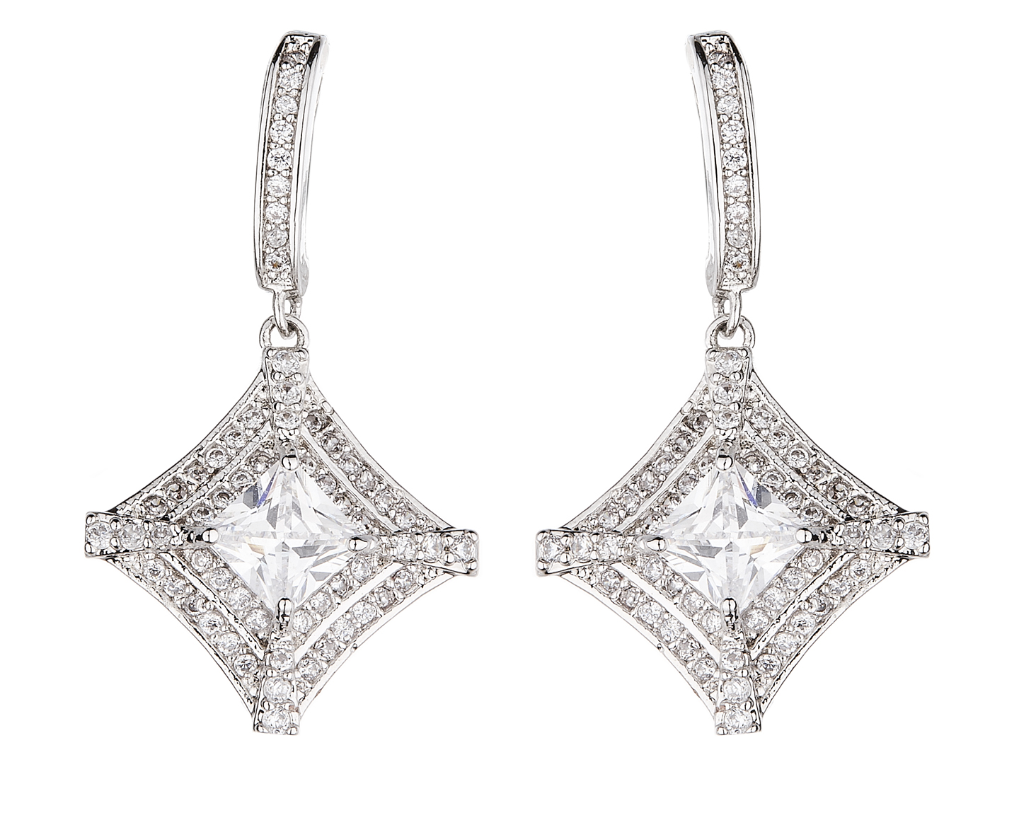 Clip On Earrings - Nariko - silver luxury drop earring with cubic zirconia crystals and stones
