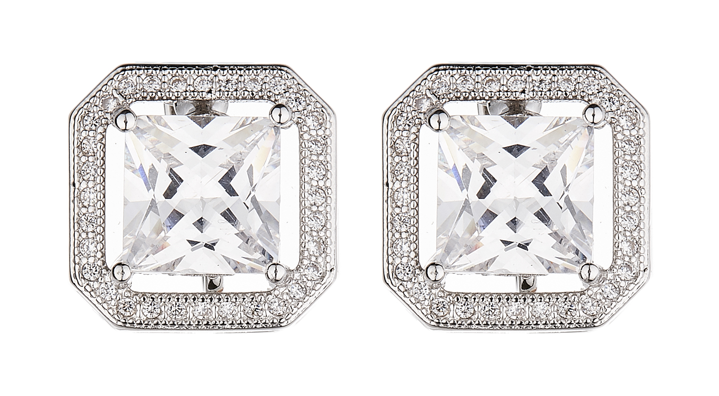 Clip On Earrings - Neci - silver luxury stud earring with a square cubic zirconia stone and crystals