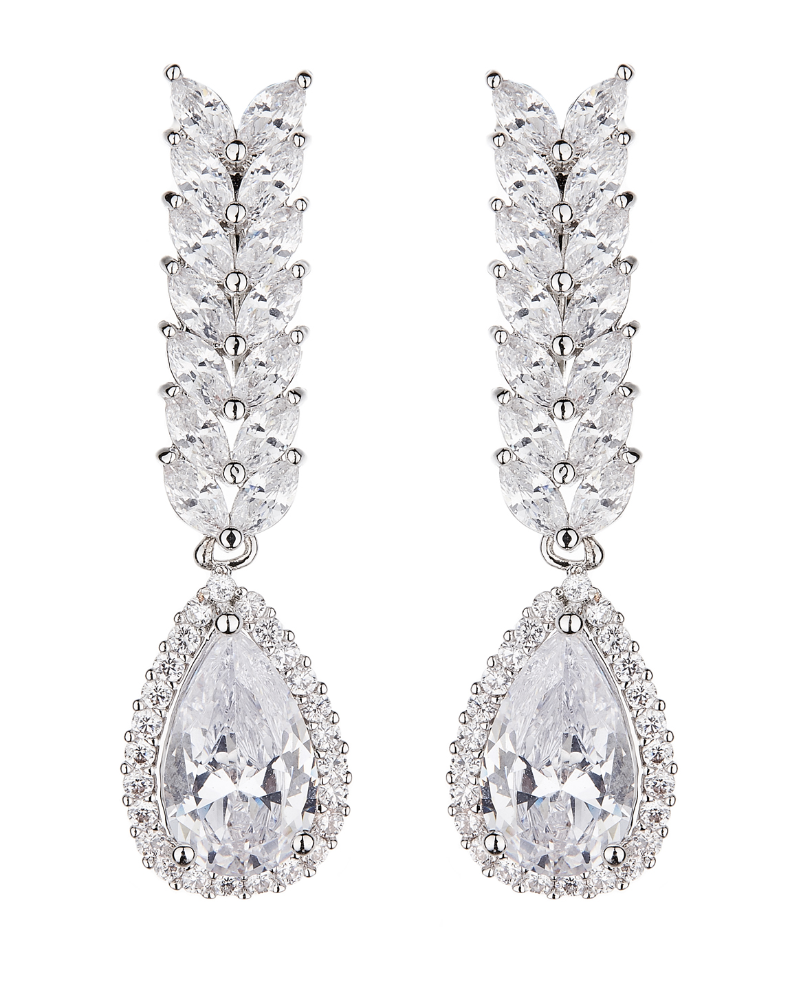 Clip On Earrings - Neena - silver luxury drop earring with cubic zirconia crystals and stones