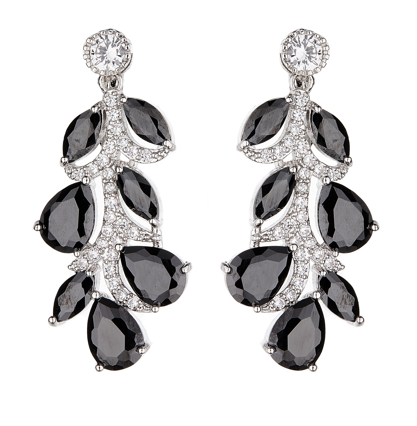 Clip On Earrings - Neo - silver luxury drop earring with black cubic zirconia stones and clear crystals
