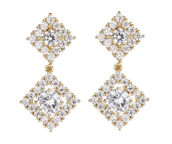 Clip On Earrings - Novia G - gold luxury drop earring with cubic zirconia crystals and stones