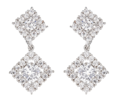 Clip On Earrings - Novia S - silver luxury drop earring with cubic zirconia crystals and stones