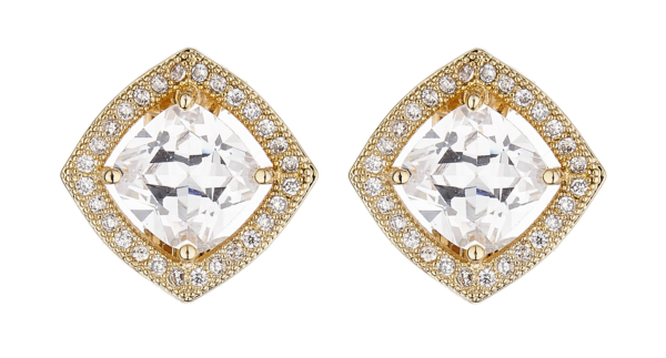 Clip On Earrings - Noya G - gold luxury stud earring with a square cubic zirconia stone and crystals