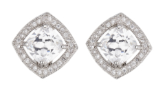 Clip On Earrings - Noya S - silver luxury stud earring with a square cubic zirconia stone and crystals