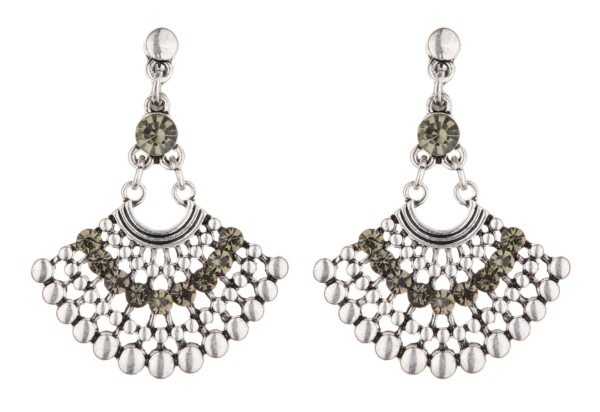 Clip On Earrings - Bem S - antique silver Aztec design dangle earring with crystals