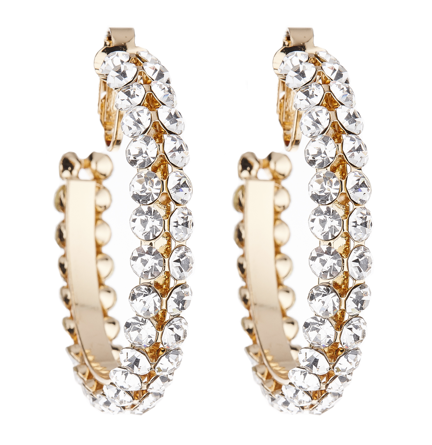 Clip On Earrings - Bevin - gold hoops with clear crystals