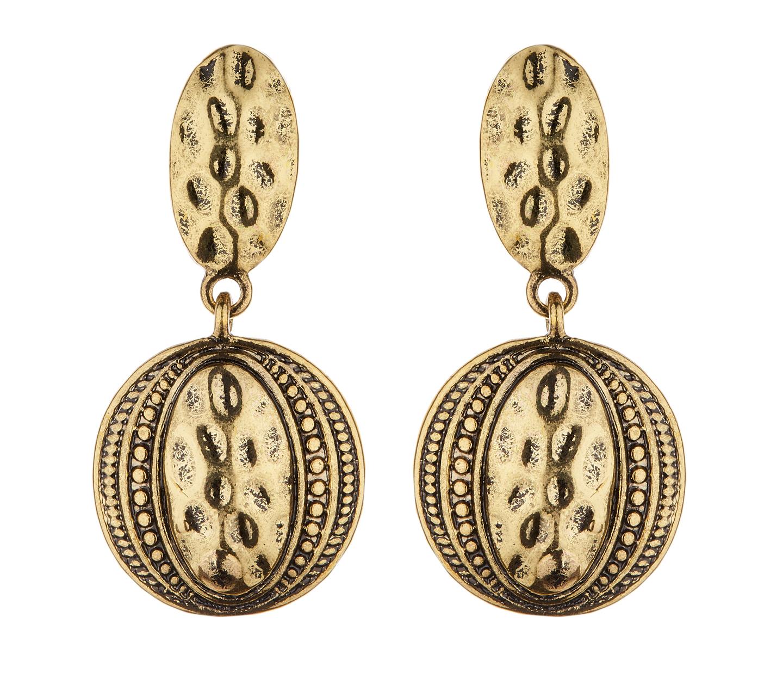Clip On Earrings - Brasen G - antique gold Aztec design dangle earring