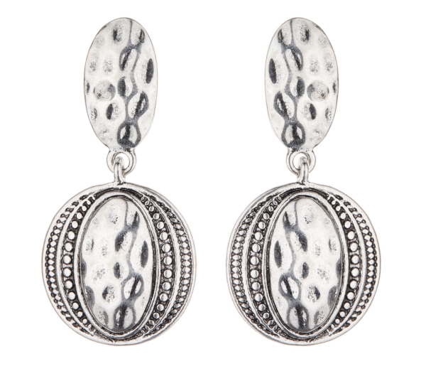 Clip On Earrings - Brasen S - antique silver Aztec design dangle earring