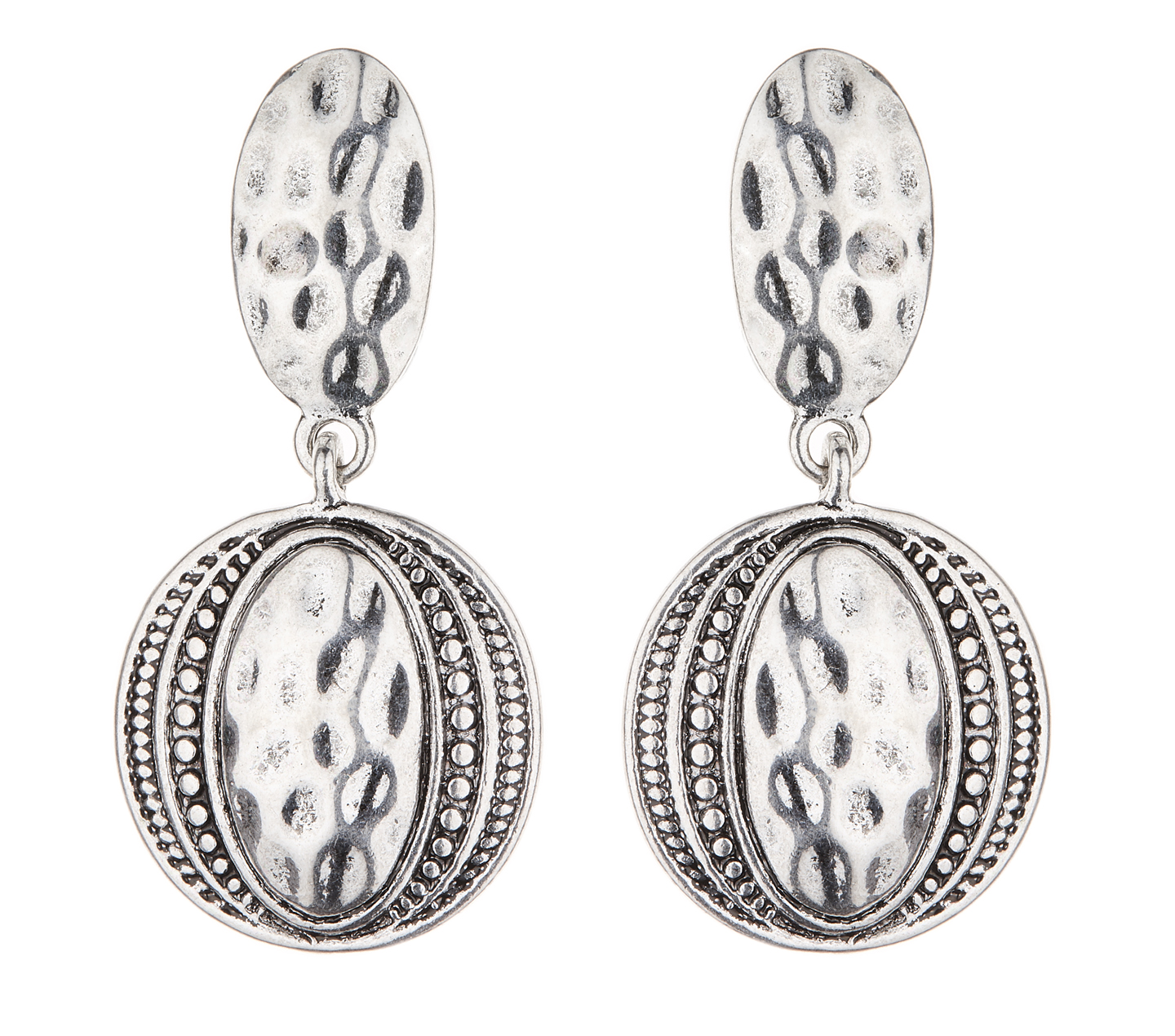 Clip On Earrings - Brasen S - antique silver Aztec design dangle earring