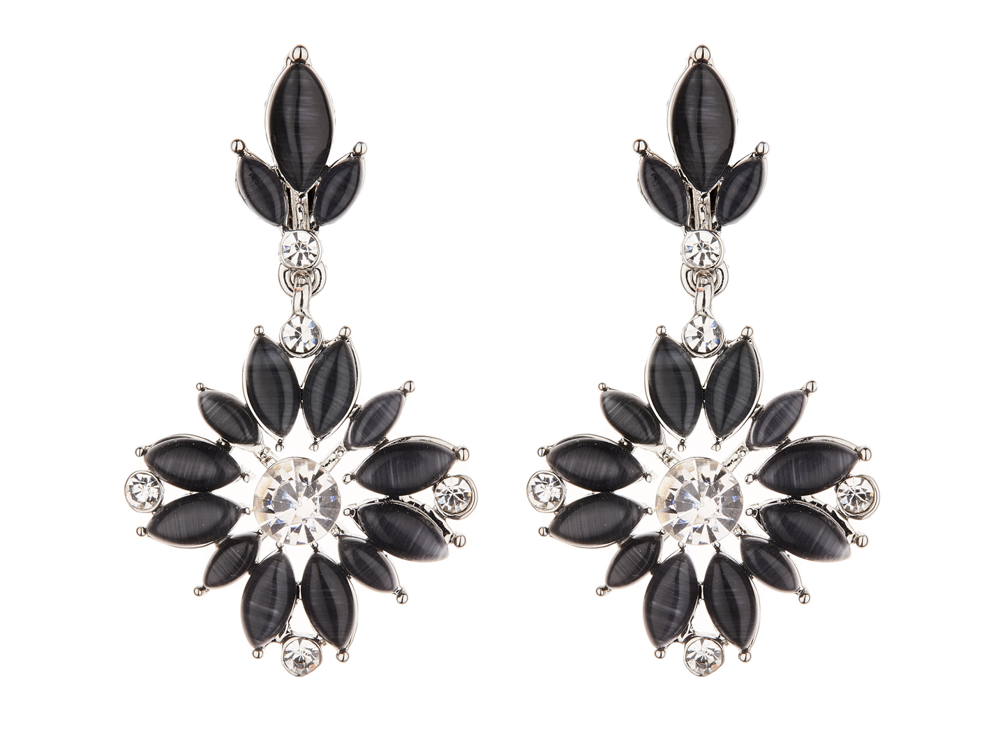Clip On Earrings - Clover B - silver dangle earring with black and crystals
