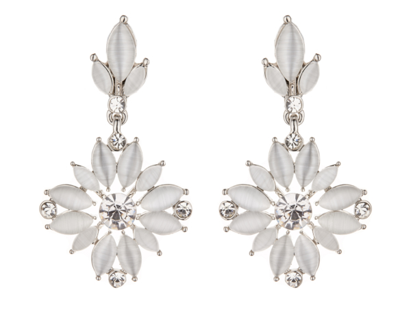 Clip On Earrings - Clover W - silver dangle earring with white and crystals