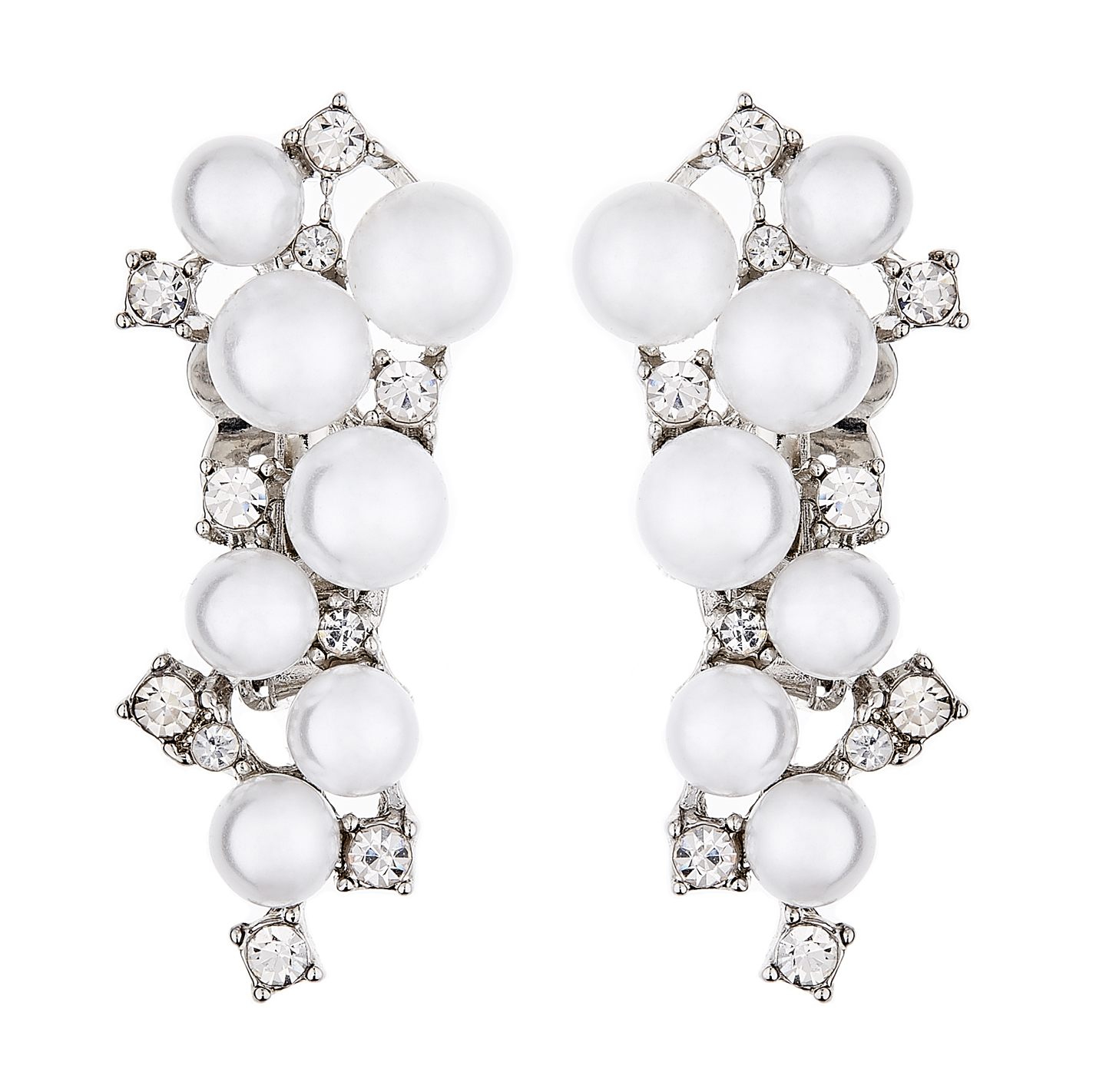 Clip On Earrings - Colola - silver earring with pearls and clear crystals